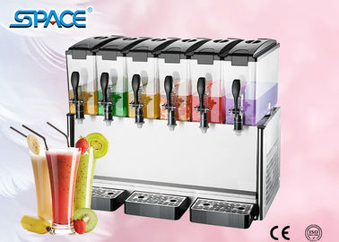 Fast Cooling Six Tank Juice Dispenser Machine , Electric Beverage Dispenser